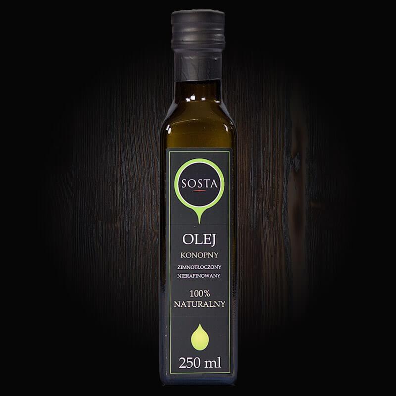 olej konopny tłoczony na zimno sosta